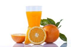 Ett exponeringsglas av orange fruktsaft med klippta isolerade apelsiner och sidor Arkivbild