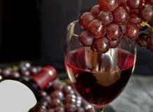 Ett exponeringsglas av rött vin med mörka druvor, på bakgrunden av en flaska av vin och röda druvor royaltyfri fotografi