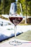Ett exponeringsglas av r?tt Cabernet vin i en loge i Cortina d'Ampezzo, Dolomites, Italien royaltyfri fotografi