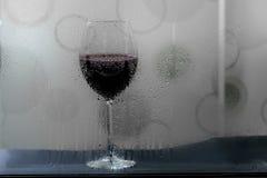 Ett exponeringsglas av vin i regnig dag Royaltyfria Foton