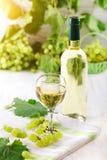 Ett exponeringsglas av vitt vin, nya druvor och en flaska av vitt vin på en trätabell Arkivfoto