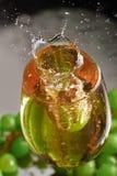 Ett exponeringsglas av vitt vin på en bakgrund av druvor Snabb vinfärgstänk Selektivt fokusera fotografering för bildbyråer