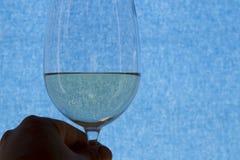 Ett exponeringsglas av vitt vin på en blå bakgrund Arkivfoton