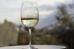 Ett exponeringsglas av vitt vin på en blå bakgrund Royaltyfria Bilder
