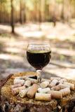 Ett exponeringsglas med korkar för ett rött vin och vinpå en stubbe på en bakgrund av en sommarskog royaltyfri fotografi