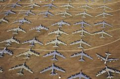 Ett fält av B-52 flygplan, Davis Montham Air Force Base, Tucson, Arizona Arkivfoton