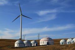 Ett fält av windturbiner Arkivfoton