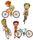 Ett färgat skissar av cyklisterna Arkivfoto
