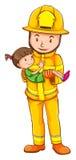 Ett färgat skissar av en brandman som sparar ett barn Arkivfoton