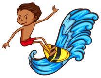 Ett färgat skissar av en pojke som gör watersport Royaltyfri Fotografi
