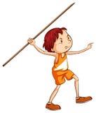 Ett färgat skissar av en pojke som rymmer en pinne Arkivfoton