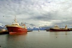 Ett färgrikt perspektiv av fiskebåtar i en port i nordliga Island med snöig berg i bakgrunden royaltyfria bilder