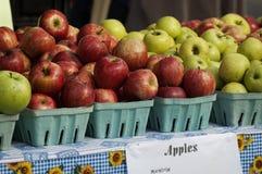 Ett färgrikt sortiment av äpplen i korgar Arkivbilder