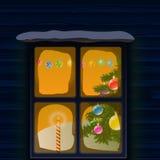 Ett fönster av huset på jul bakgrundsfärger semestrar röd yellow Royaltyfria Bilder