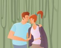 Ett förälskat par Man och kvinna som går bland träd i en parkera eller i träna också vektor för coreldrawillustration Arkivbilder