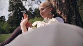 Ett förälskat par sitter under ett träd i skogen och meddelar N?rbild av ett f?r?lskat par god mood arkivfilmer