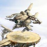 Ett fantastiskt skepp landar på ett landningblock på en station i bergen Scienceillustration Arkivbild