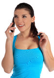 ett felanmälan som gör telefonkvinnabarn Royaltyfria Foton