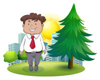 Ett fett affärsmananseende bredvid sörjaträdet Arkivbilder