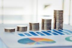 Ett finansiellt diagram med mynt royaltyfri foto