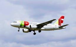 Ett flygplan av Air Portugal royaltyfria bilder