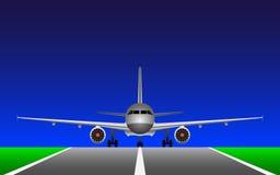 Ett flygplan på landningsbanan Arkivbilder