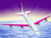 Ett flygplan som flyger över moln vektor illustrationer