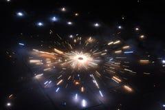 Ett fokuserat skott av en smällare som är på brand och färgrikt fotografering för bildbyråer
