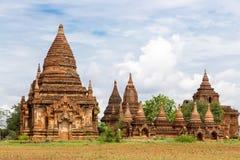 Ett forntida komplex för buddistisk tempel av Bagan i Myanmar Arkivbild