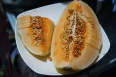 Ett foto om cantaloupmelon arkivbilder