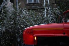 Ett fragment av en brandlastbil Royaltyfri Fotografi