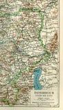 Ett fragment av en gammal översikt av Centraleuropa, östlig Tyskland Arkivfoton