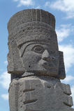 Ett fragment av en helig staty i Teotihuacan, Mexico Fotografering för Bildbyråer