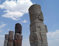 Ett fragment av en helig staty i Teotihuacan, Mexico Royaltyfri Fotografi