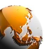 Ett fragment av jorden med kontinentar Arkivbilder