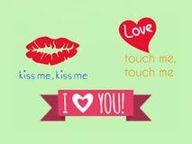 Ett framgångsymbol för ett liv, en förälskelse och en kyss, två symbol, vektor vektor illustrationer