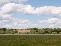Ett frodigt sommarfält utanför i landet i UK i essex av Arkivfoton