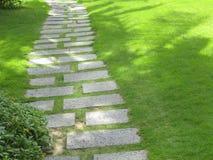 Ett gå spår som göras av stentjock skiva bland gräs Arkivfoton