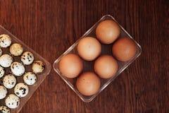 Ett gåsägg, hönaägg och ett vaktelägg Royaltyfri Fotografi