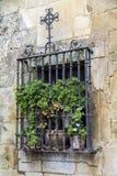 Ett gammalt fönster med skyddande metallstänger i Spanien fotografering för bildbyråer