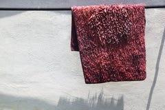 Ett gammalt mattt, i rosa tvättat och att torka i solen arkivfoton