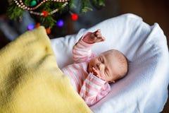 Ett gammalt nyfött för vecka behandla som ett barn flickan som sover nära julgranen Arkivbilder