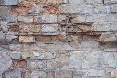 Ett gammalt tegelstenmurverk, väggtextur Royaltyfria Foton