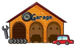Ett garage Arkivfoto