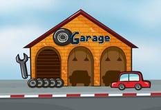 Ett garage Arkivbild