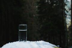 Ett genomskinligt glass exponeringsglas med att dricka bergvatten står i snön mot en bakgrund av en skog i vinter Royaltyfria Foton