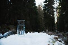 Ett genomskinligt glass exponeringsglas med att dricka bergvatten står i snön mot en bakgrund av en skog i vinter Royaltyfria Bilder