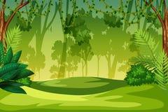Ett grönt djungellandskap vektor illustrationer