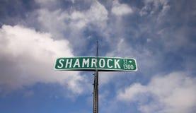 Ett grönt gatatecken för `-treklövergata Arkivbilder