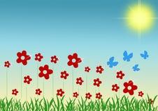 Fjädra blommor och fjärilar Arkivbild